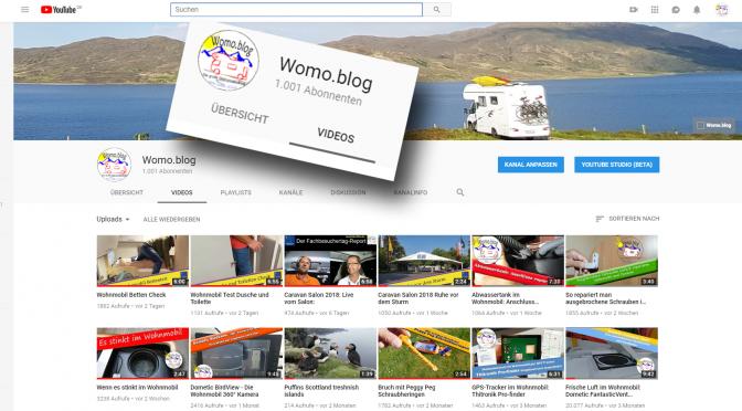 Womo.Blog auf Youtube: Danke für 1000 Abonnenten