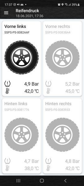 Graue Reifen werden abgefragt