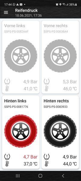Rote Reifen bedeuten Gefahr